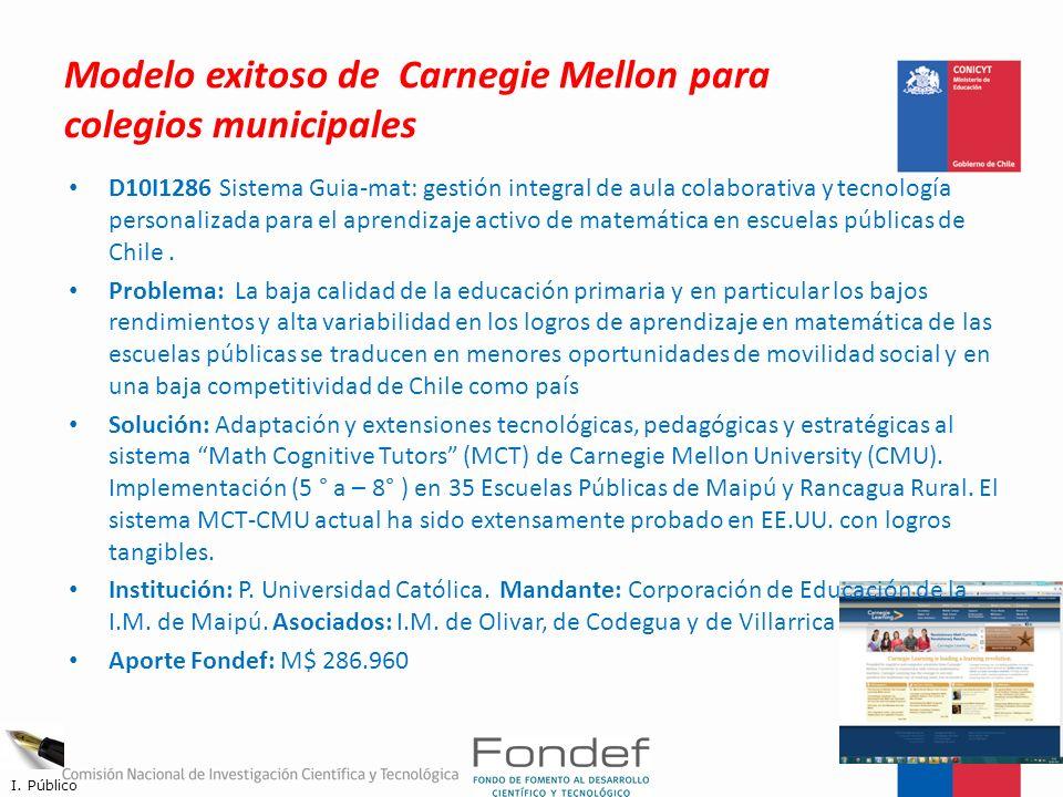 Modelo exitoso de Carnegie Mellon para colegios municipales