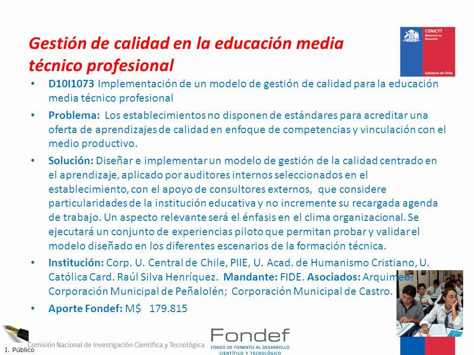 Gestión de calidad en la educación media técnico profesional
