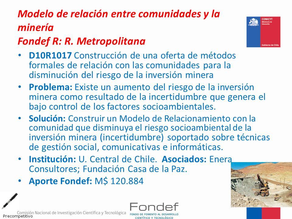 Modelo de relación entre comunidades y la minería Fondef R: R