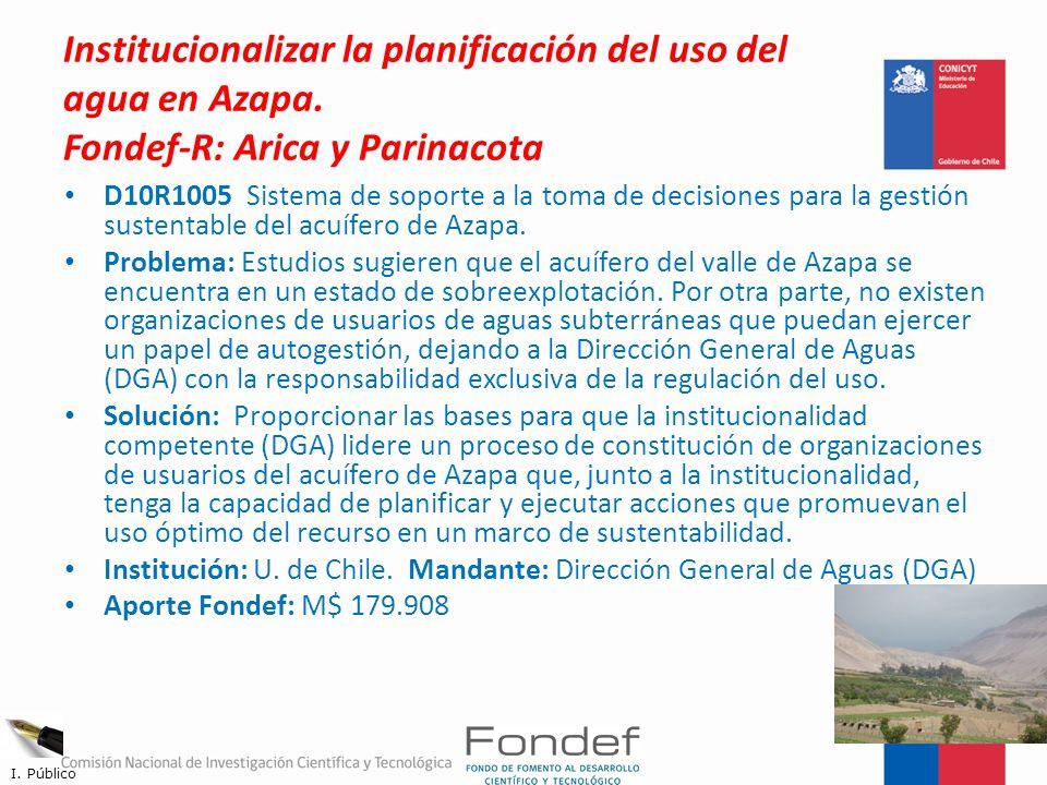 Institucionalizar la planificación del uso del agua en Azapa
