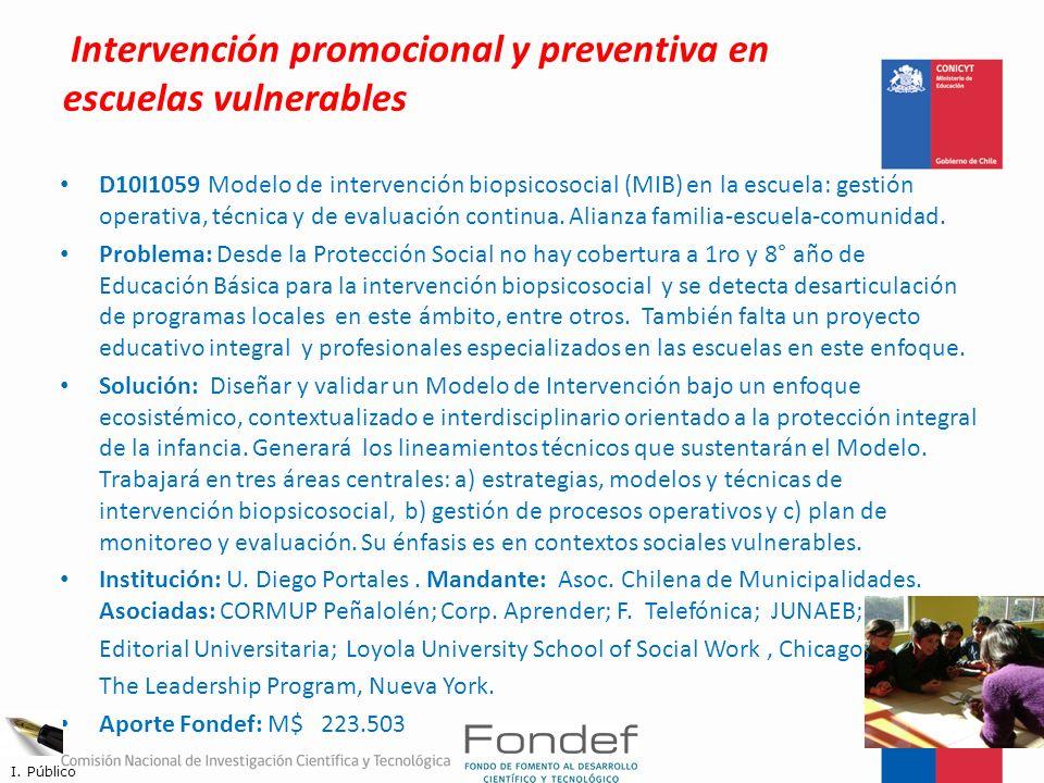Intervención promocional y preventiva en escuelas vulnerables