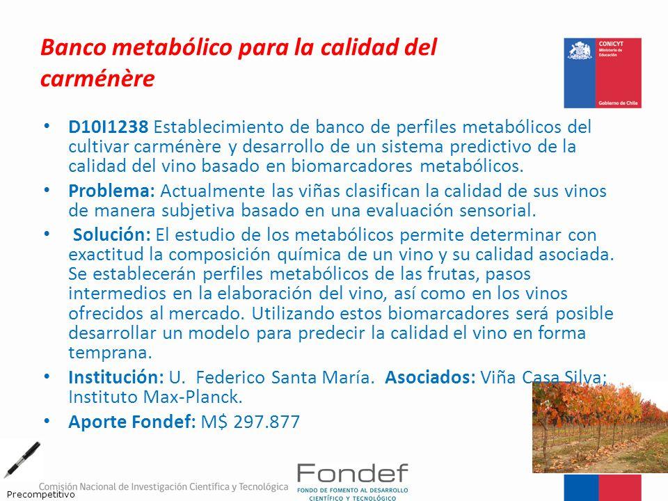Banco metabólico para la calidad del carménère