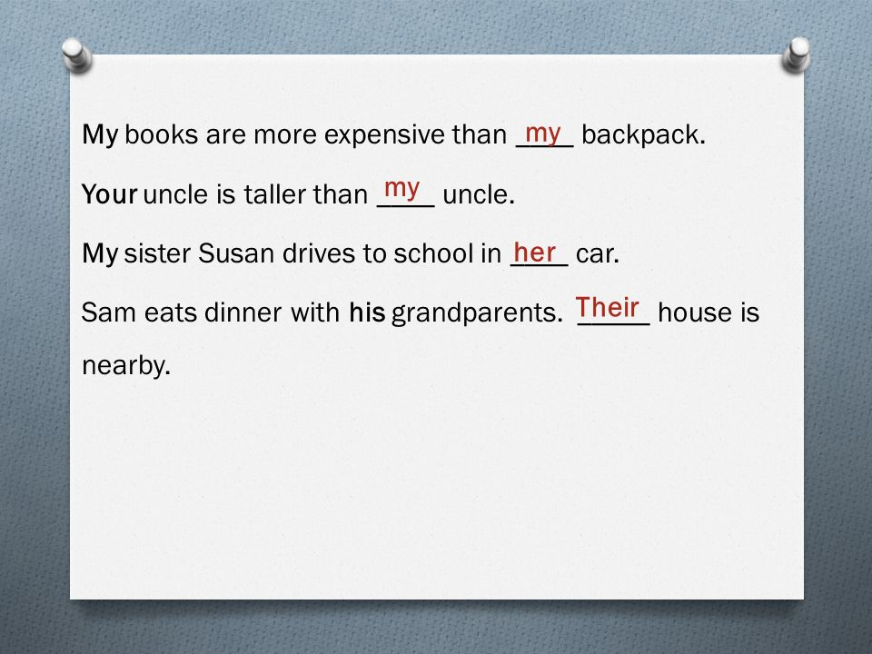 My books are more expensive than ____ backpack