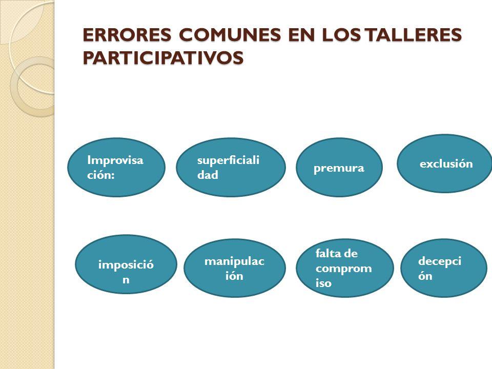 ERRORES COMUNES EN LOS TALLERES PARTICIPATIVOS