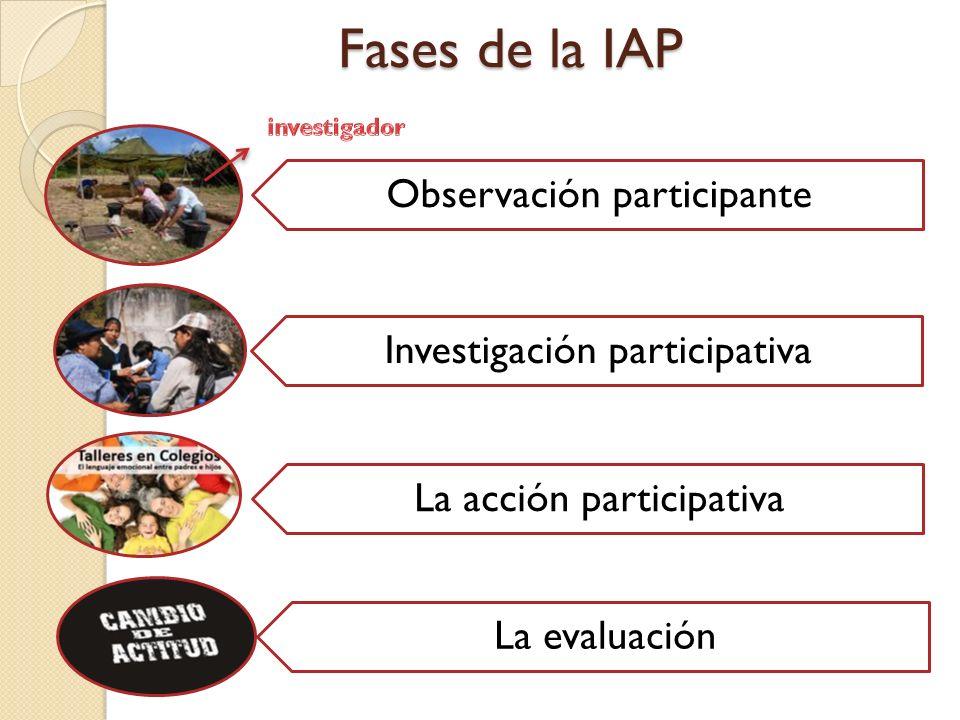 Fases de la IAP Observación participante Investigación participativa