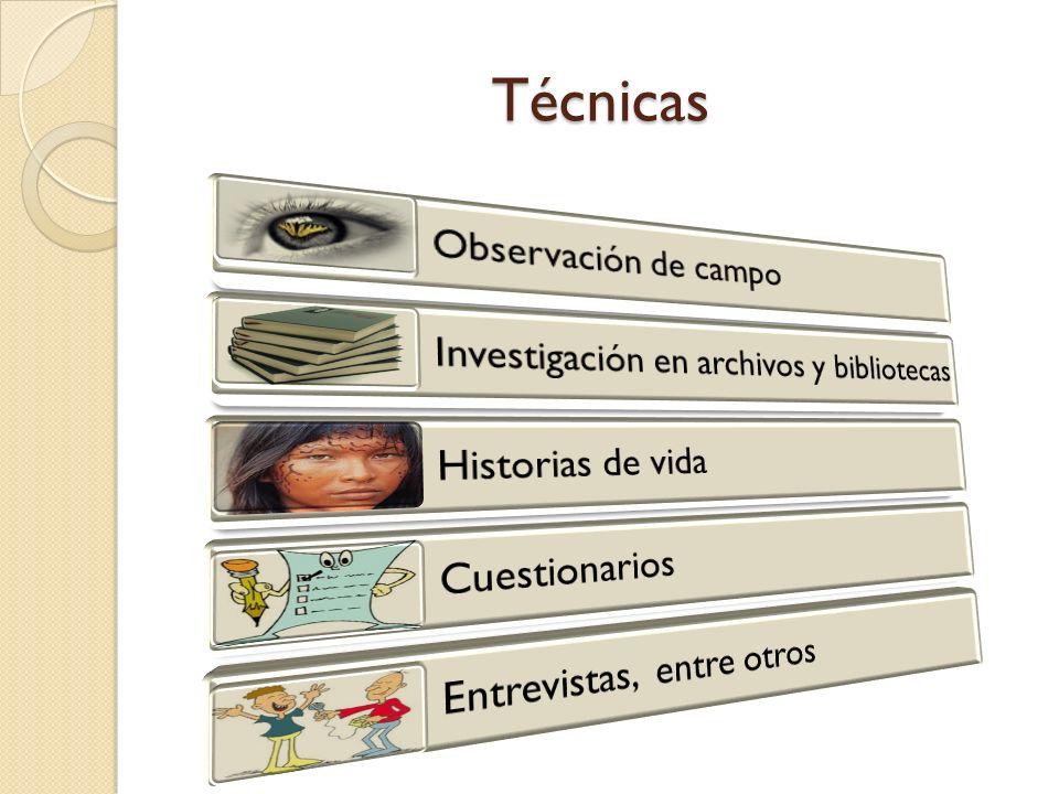 Técnicas Observación de campo Investigación en archivos y bibliotecas