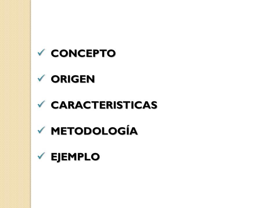 CONCEPTO ORIGEN CARACTERISTICAS METODOLOGÍA EJEMPLO