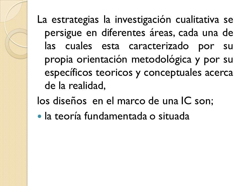 La estrategias la investigación cualitativa se persigue en diferentes áreas, cada una de las cuales esta caracterizado por su propia orientación metodológica y por su específicos teoricos y conceptuales acerca de la realidad,