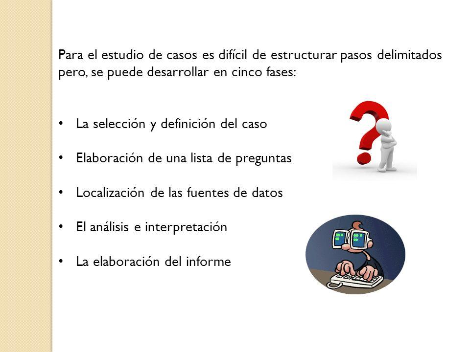 Para el estudio de casos es difícil de estructurar pasos delimitados pero, se puede desarrollar en cinco fases: