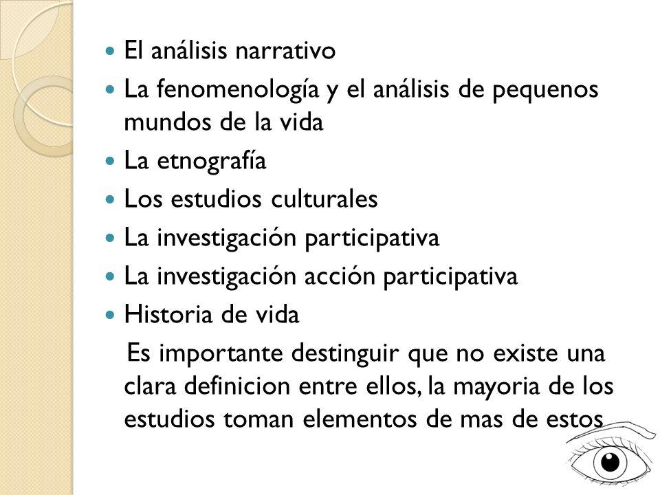 El análisis narrativo La fenomenología y el análisis de pequenos mundos de la vida. La etnografía.