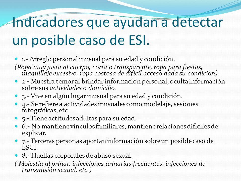 Indicadores que ayudan a detectar un posible caso de ESI.