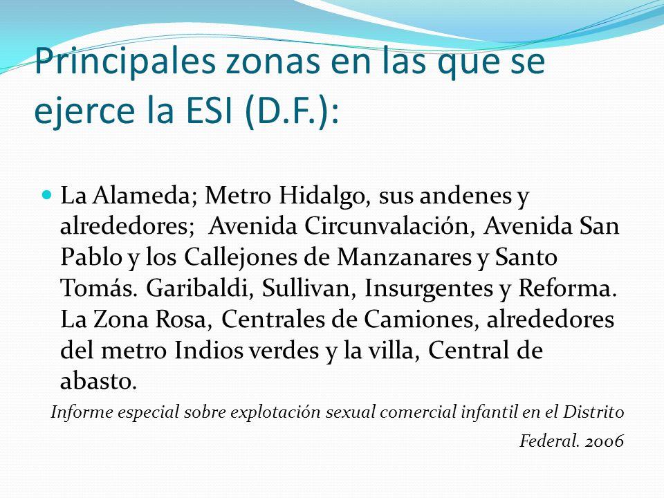 Principales zonas en las que se ejerce la ESI (D.F.):