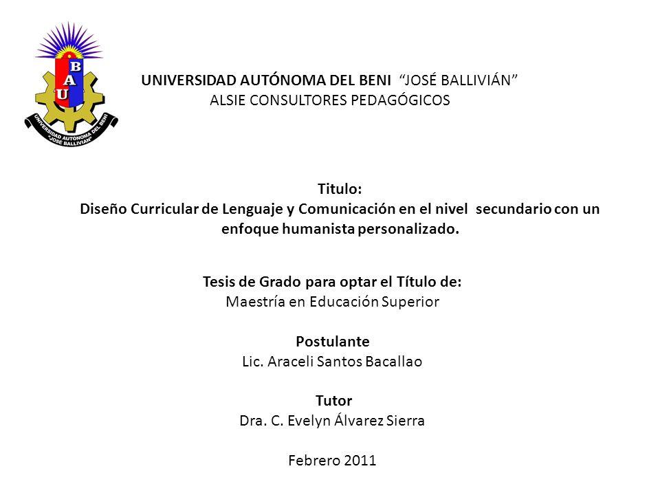 Tesis de Grado para optar el Título de: Maestría en Educación Superior