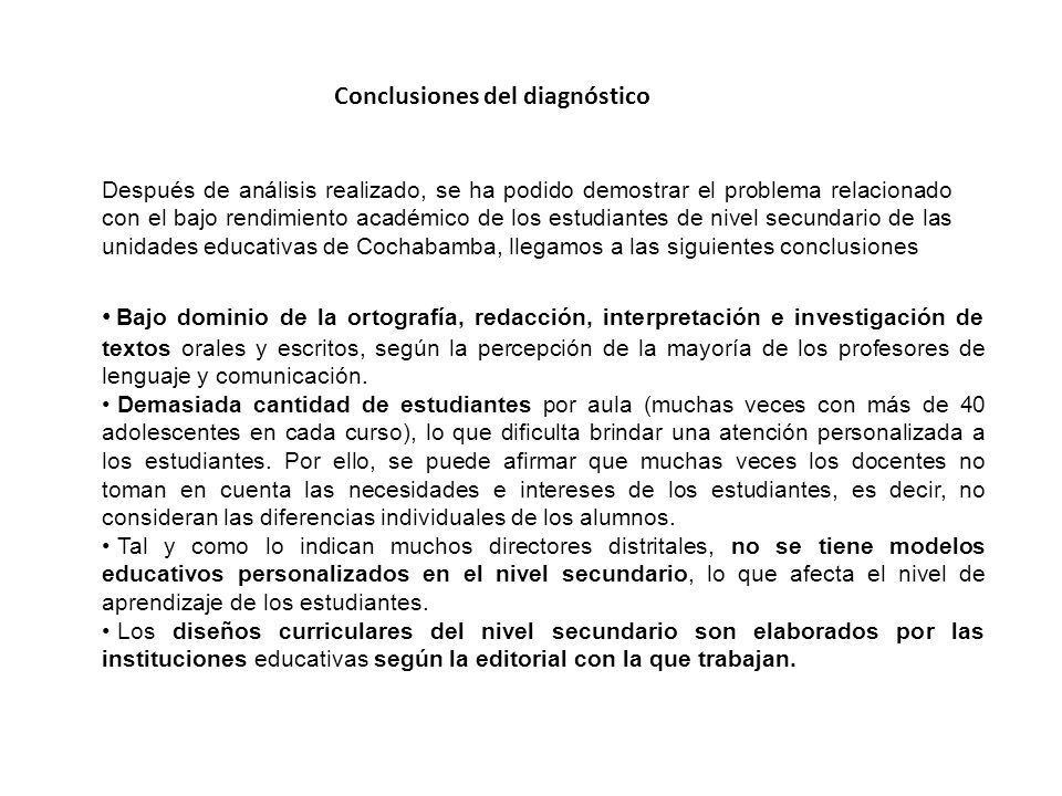 Conclusiones del diagnóstico