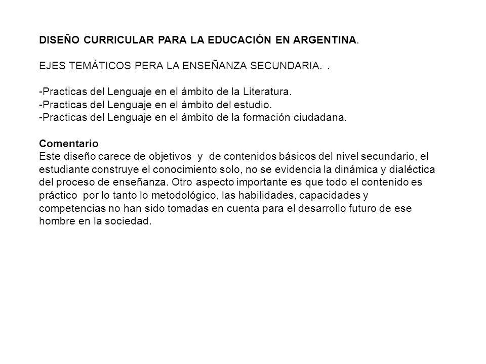 DISEÑO CURRICULAR PARA LA EDUCACIÓN EN ARGENTINA.