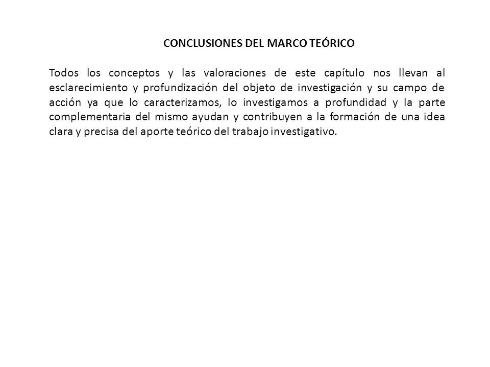 CONCLUSIONES DEL MARCO TEÓRICO