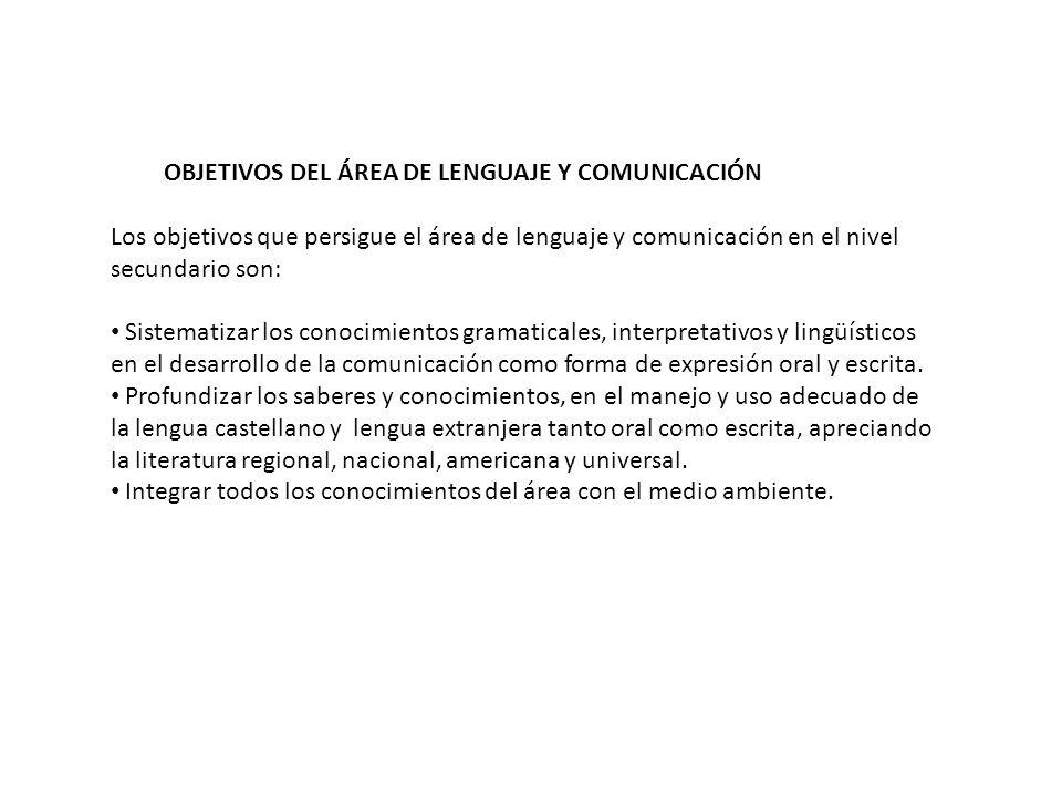 OBJETIVOS DEL ÁREA DE LENGUAJE Y COMUNICACIÓN