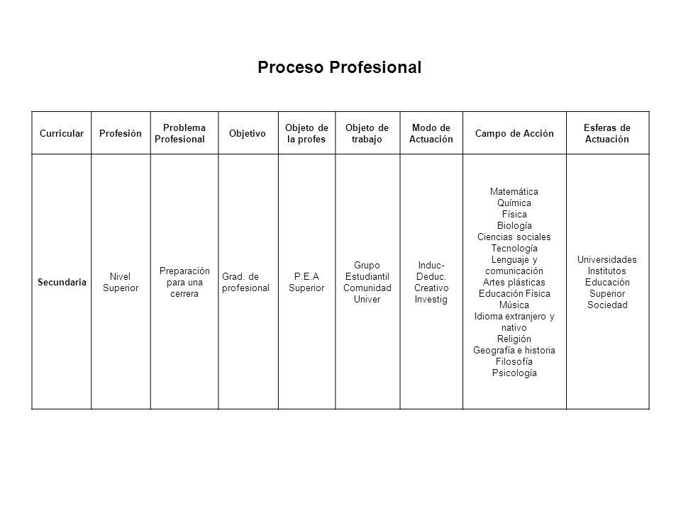 Proceso Profesional Curricular Profesión Problema Profesional Objetivo