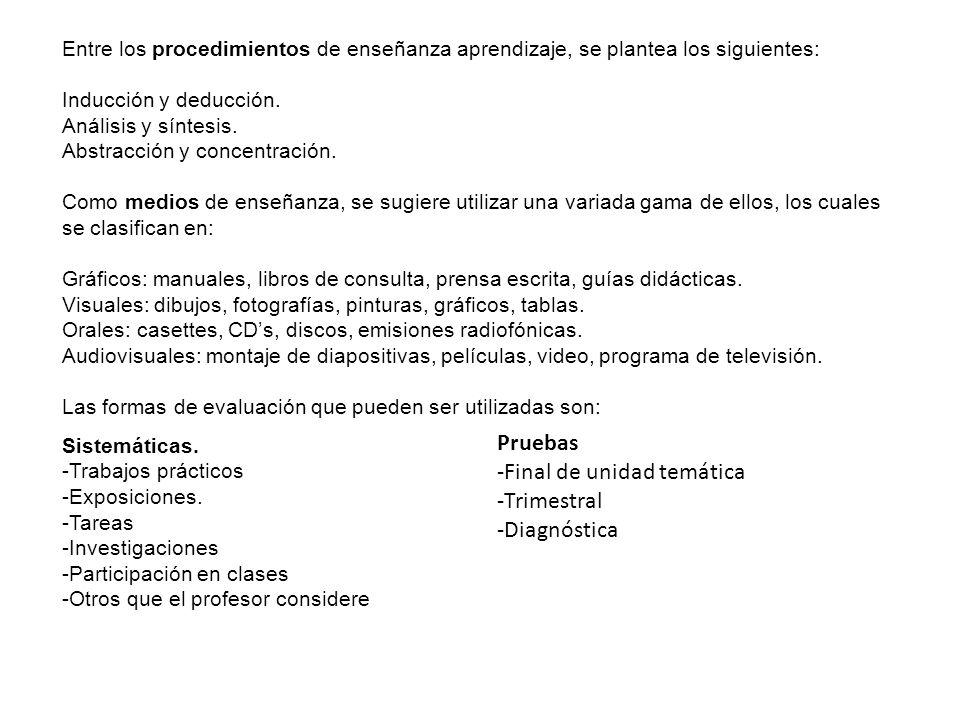 -Final de unidad temática -Trimestral -Diagnóstica