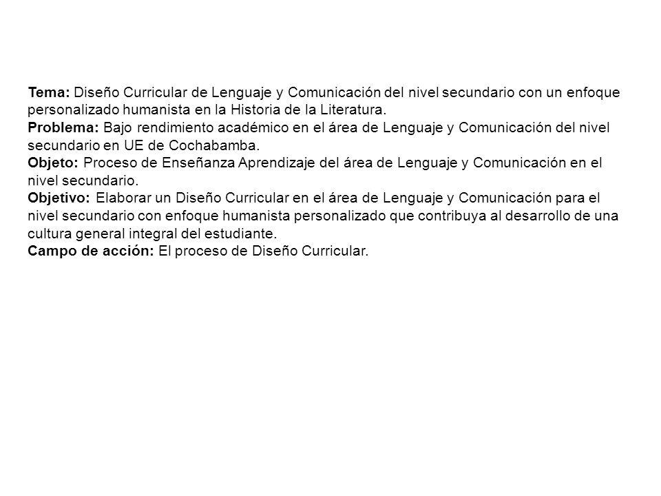 Tema: Diseño Curricular de Lenguaje y Comunicación del nivel secundario con un enfoque personalizado humanista en la Historia de la Literatura.