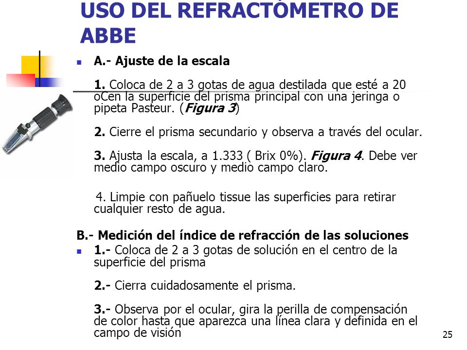 USO DEL REFRACTÓMETRO DE ABBE