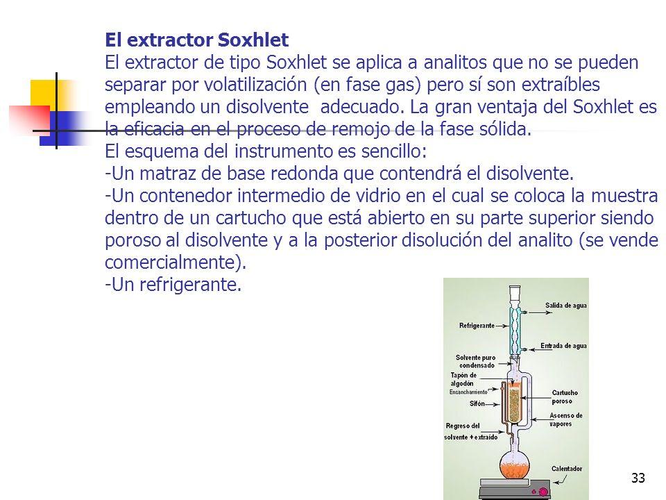El extractor Soxhlet El extractor de tipo Soxhlet se aplica a analitos que no se pueden separar por volatilización (en fase gas) pero sí son extraíbles empleando un disolvente adecuado.