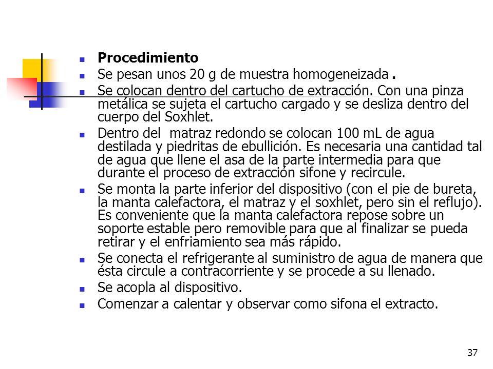 ProcedimientoSe pesan unos 20 g de muestra homogeneizada .