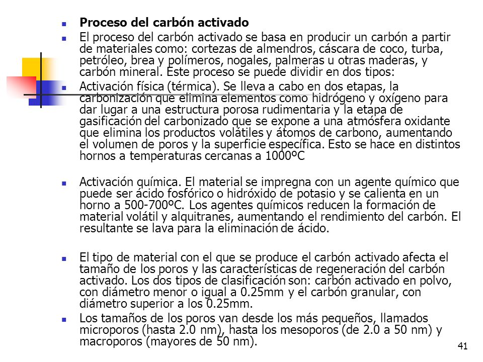 Proceso del carbón activado