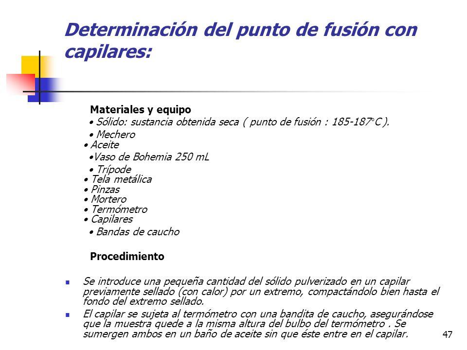 Determinación del punto de fusión con capilares:
