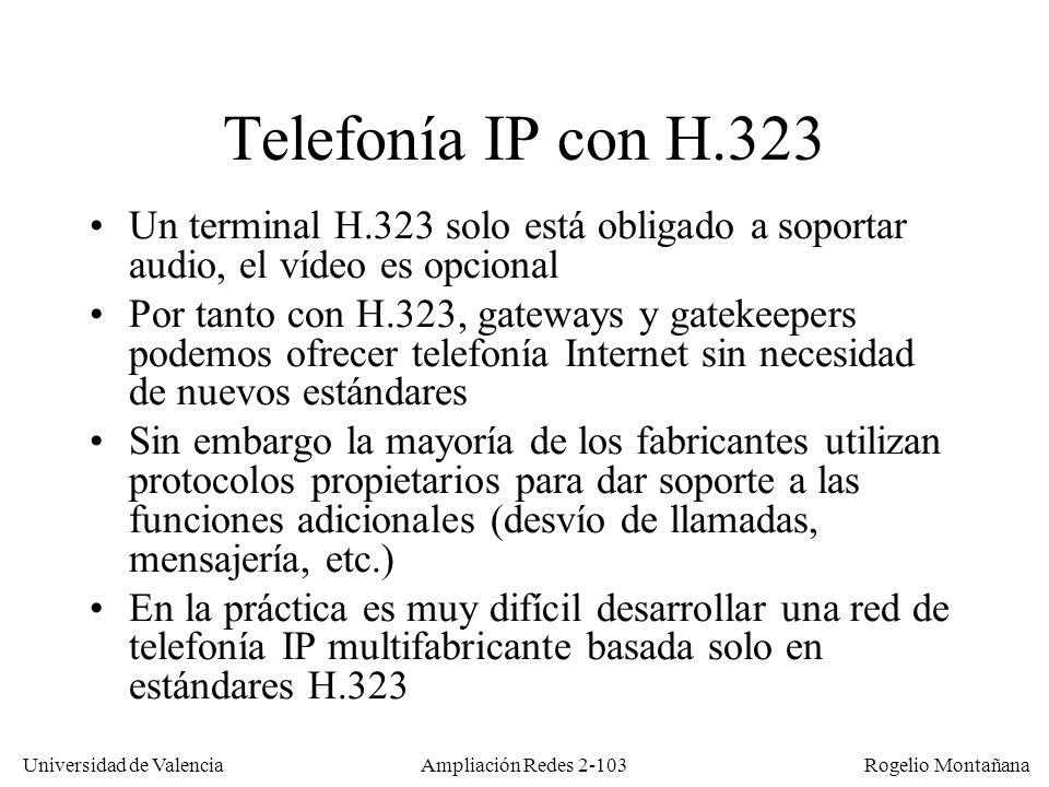 Redes Multimedia Telefonía IP con H.323. Un terminal H.323 solo está obligado a soportar audio, el vídeo es opcional.