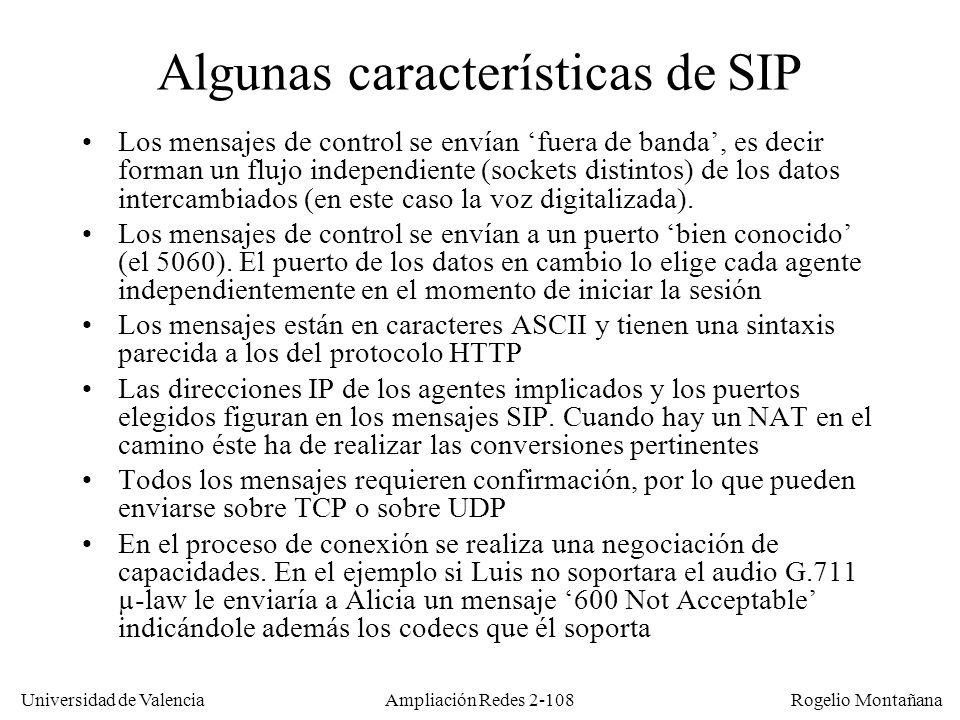 Algunas características de SIP