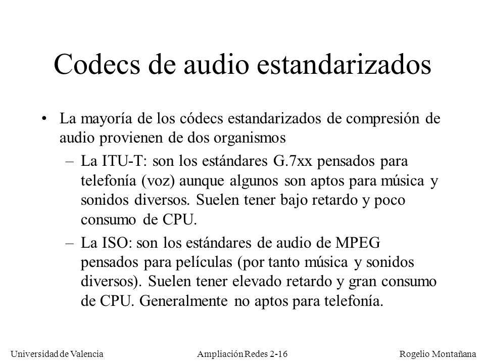 Codecs de audio estandarizados