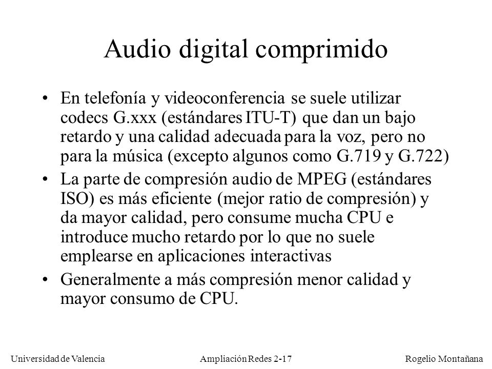 Audio digital comprimido