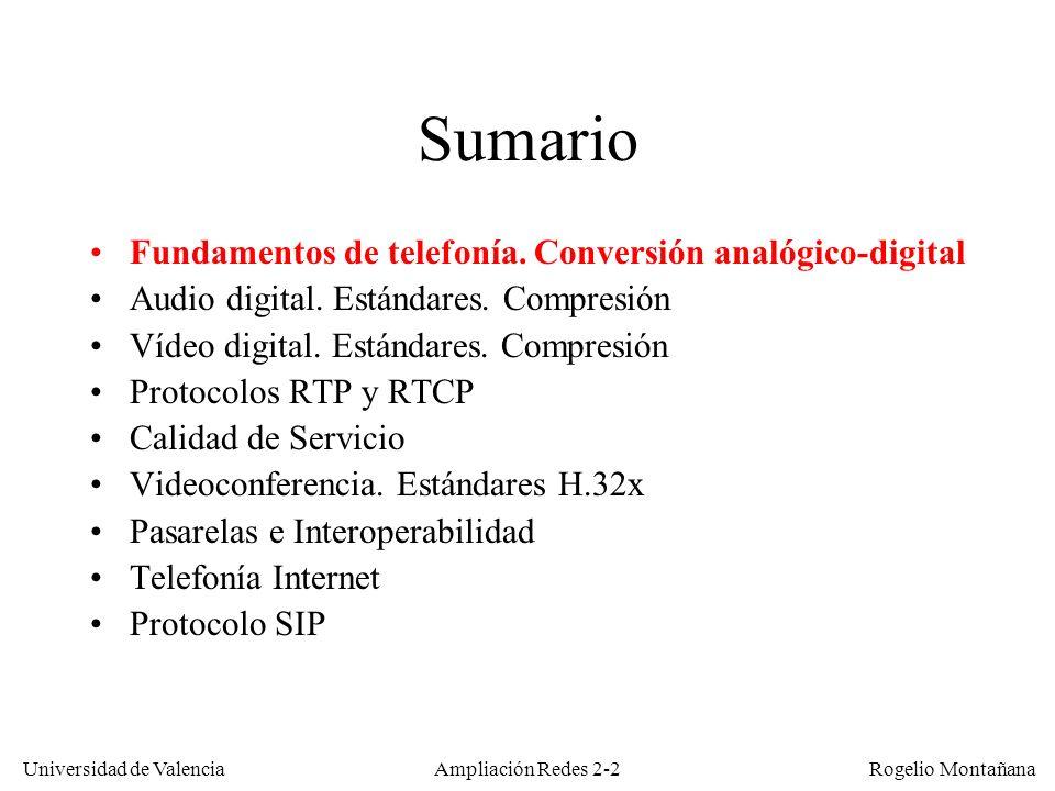 Sumario Fundamentos de telefonía. Conversión analógico-digital