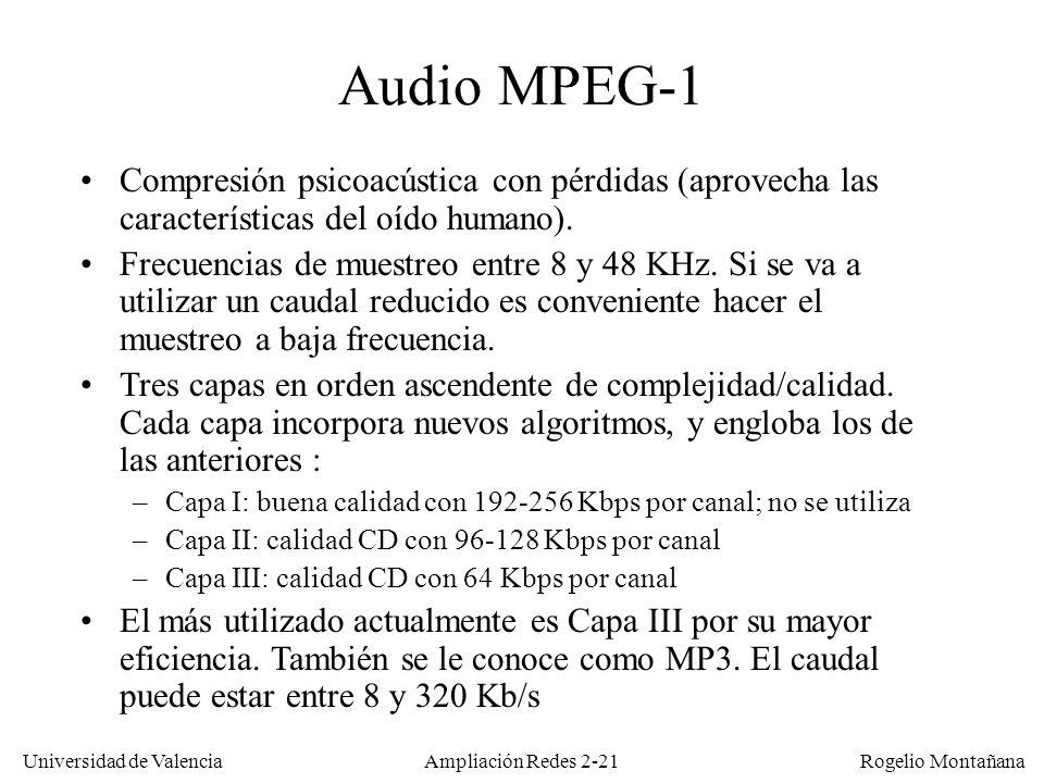 Redes Multimedia Audio MPEG-1. Compresión psicoacústica con pérdidas (aprovecha las características del oído humano).
