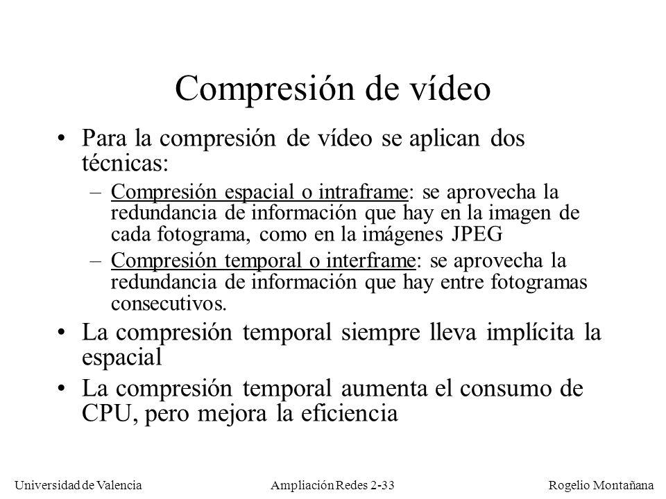 Redes Multimedia Compresión de vídeo. Para la compresión de vídeo se aplican dos técnicas: