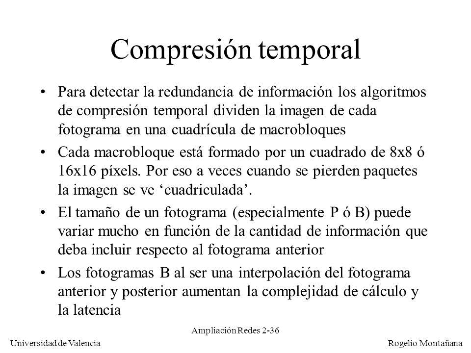 Redes Multimedia Compresión temporal.