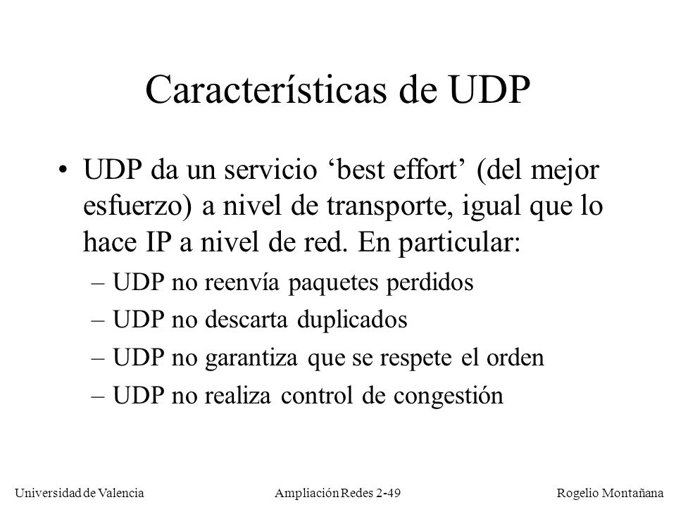 Características de UDP