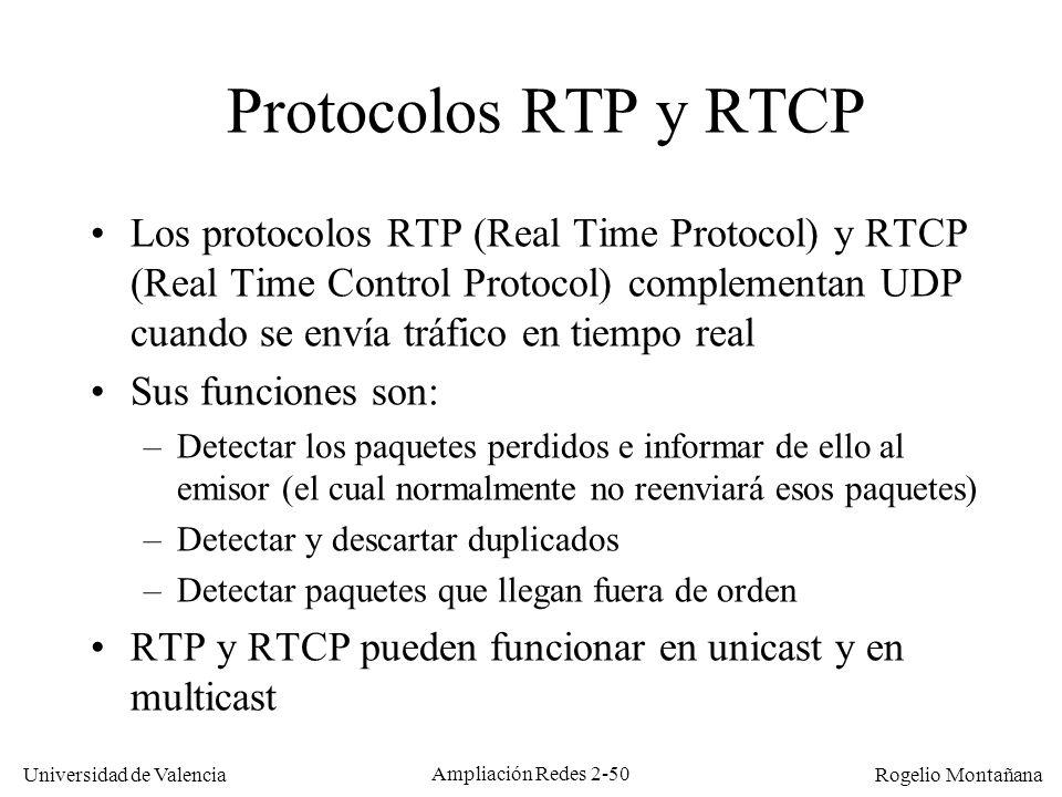 Redes Multimedia Protocolos RTP y RTCP.