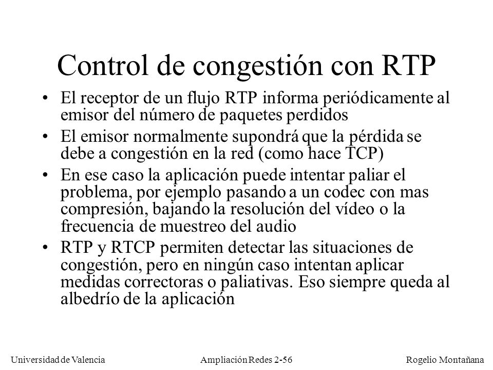 Control de congestión con RTP