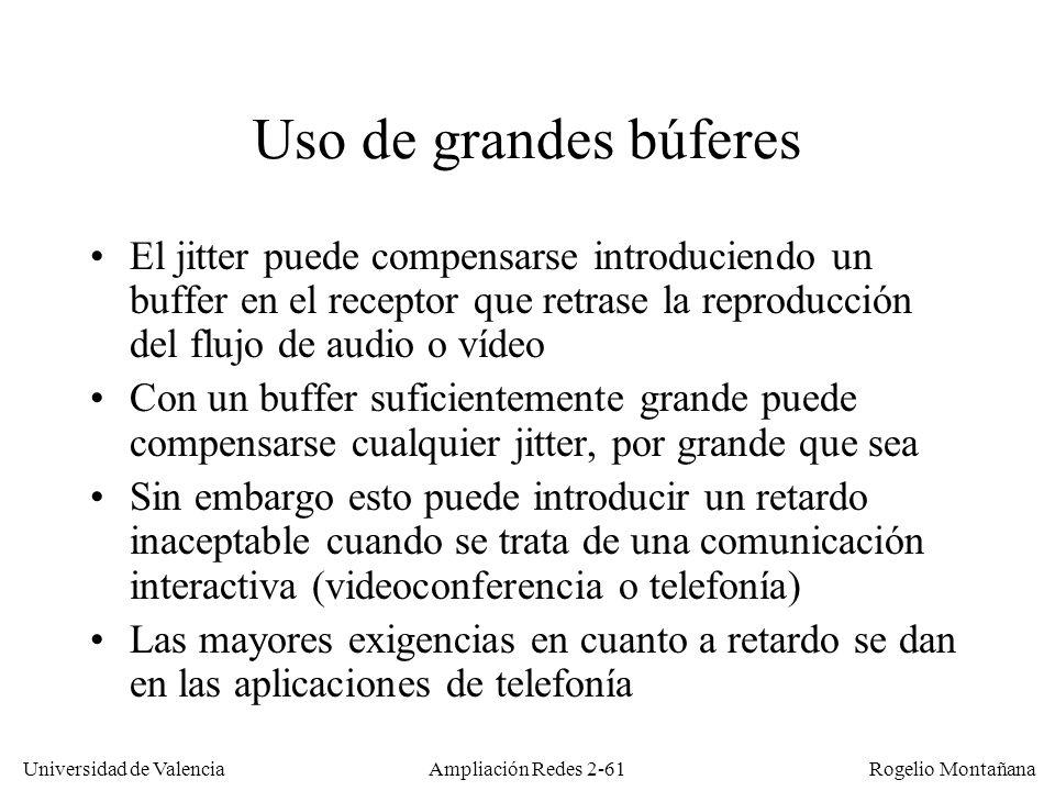 Redes Multimedia Uso de grandes búferes.