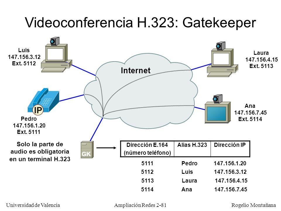 Solo la parte de audio es obligatoria en un terminal H.323