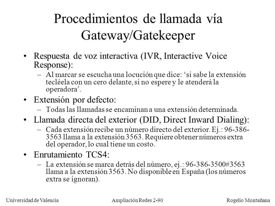Procedimientos de llamada vía Gateway/Gatekeeper
