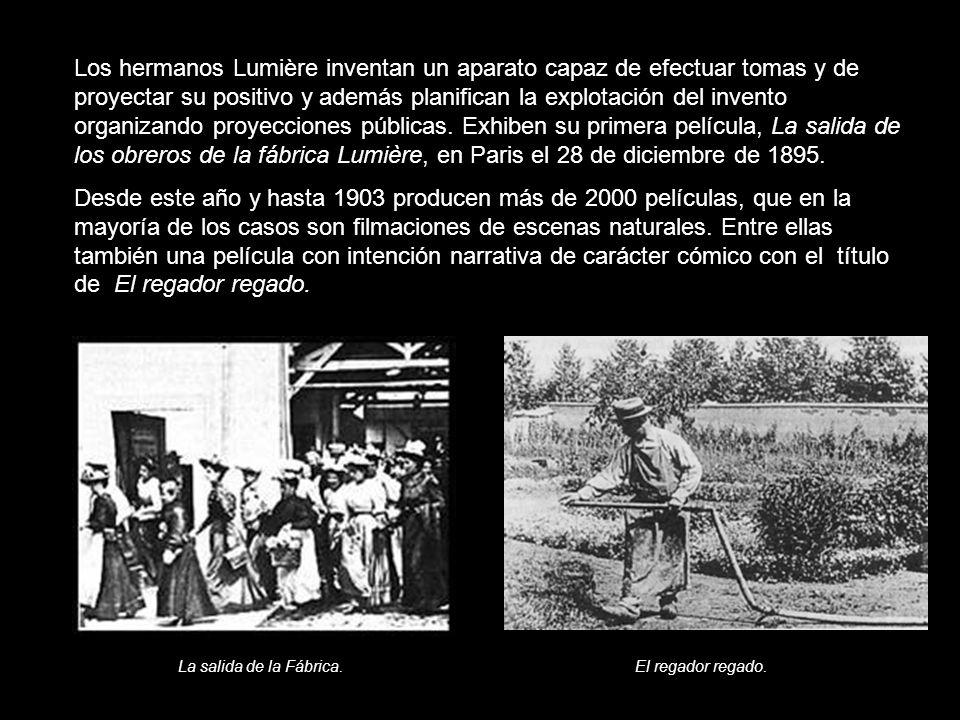 Los hermanos Lumière inventan un aparato capaz de efectuar tomas y de proyectar su positivo y además planifican la explotación del invento organizando proyecciones públicas. Exhiben su primera película, La salida de los obreros de la fábrica Lumière, en Paris el 28 de diciembre de 1895.