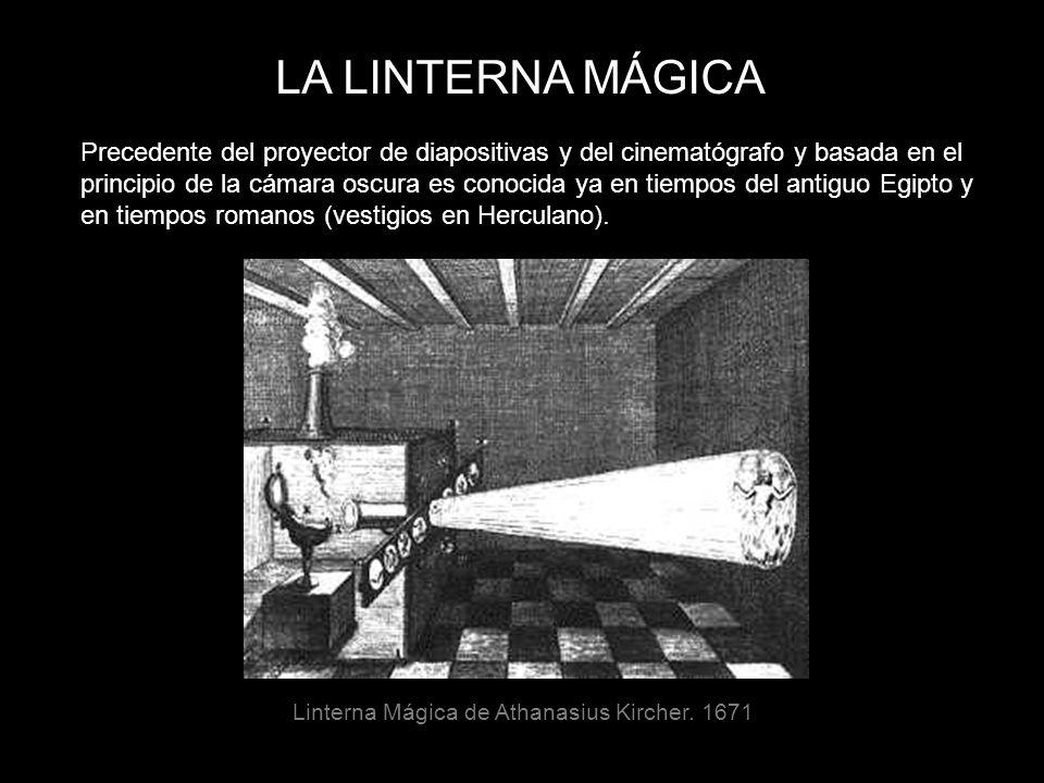 LA LINTERNA MÁGICA Precedente del proyector de diapositivas y del cinematógrafo y basada en el.