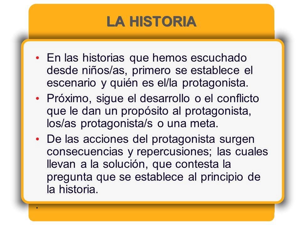 LA HISTORIA En las historias que hemos escuchado desde niños/as, primero se establece el escenario y quién es el/la protagonista.