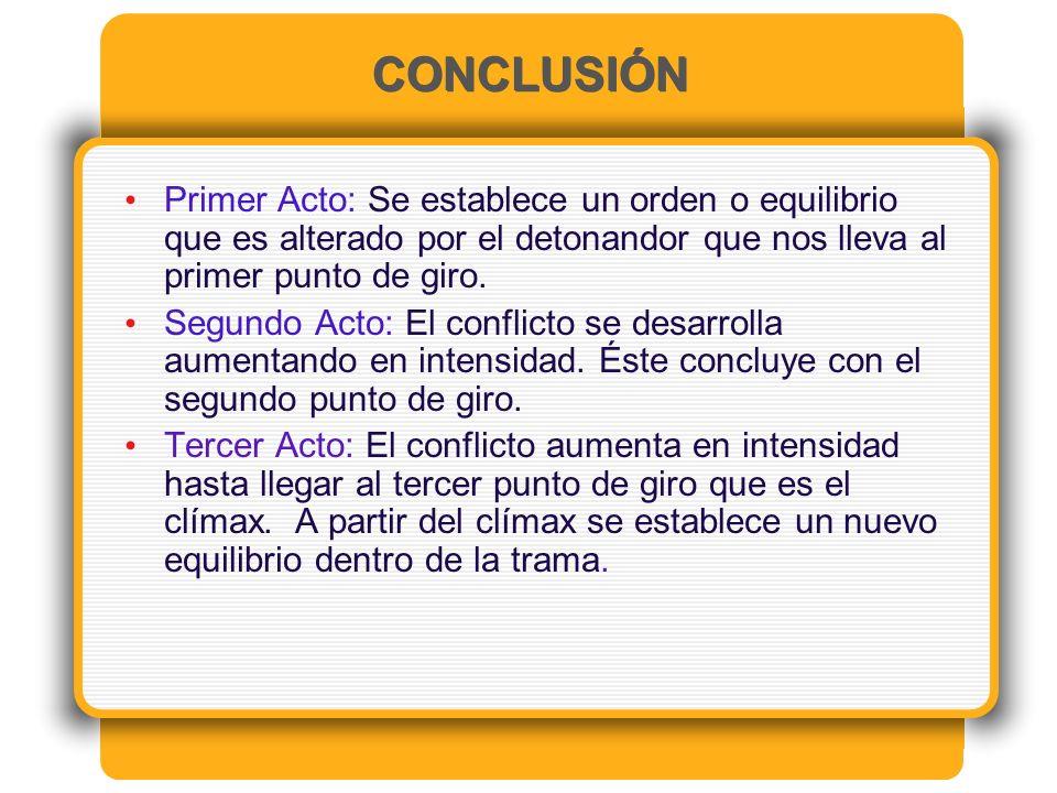 CONCLUSIÓN Primer Acto: Se establece un orden o equilibrio que es alterado por el detonandor que nos lleva al primer punto de giro.