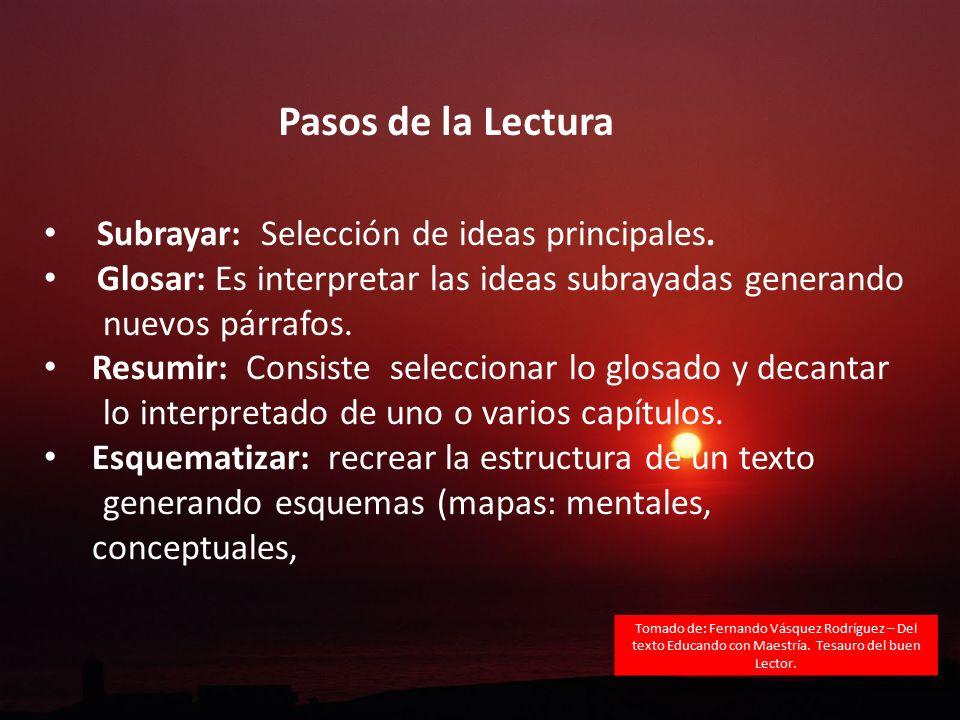 Pasos de la Lectura Subrayar: Selección de ideas principales.