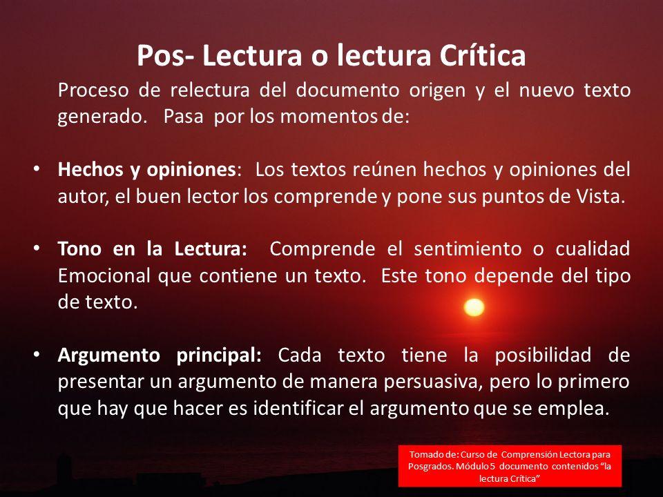 Pos- Lectura o lectura Crítica