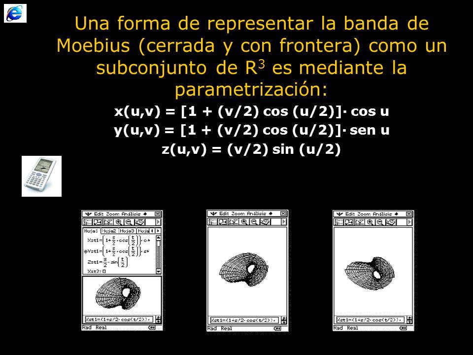 Una forma de representar la banda de Moebius (cerrada y con frontera) como un subconjunto de R3 es mediante la parametrización:
